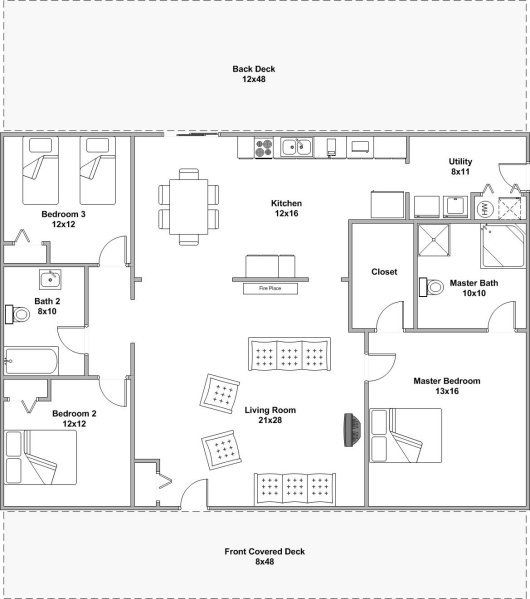 Bunkhouse cabin willowbrook cabin rentals southern Bunkhouse floor plans